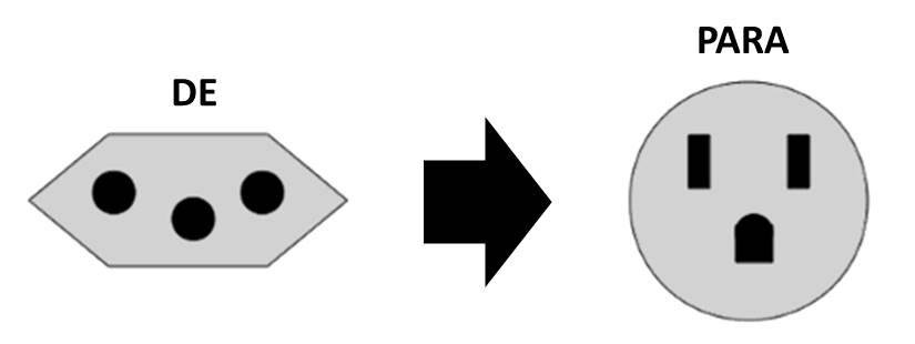 Plugue Adaptador 2P+T Reverso